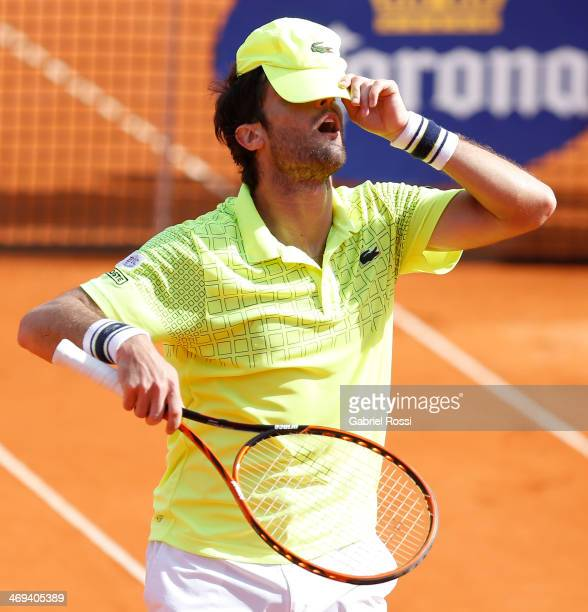 Pablo Andujar of Spain looks dejected during a tennis match between Fabio Fognini and Pablo Andujar as part of ATP Buenos Aires Copa Claro on...