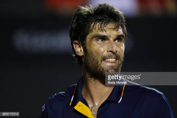 Pablo Andujar of Spain looks on during his match against Dominic Thiem of Austria during the ATP Rio Open 2018 at Jockey Club Brasileiro on February...