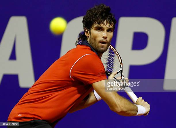 Pablo Andujar of Spain looks the ball during a singles match between Pablo Andujar and Nicolas Almagro of Spain as part of ATP Argentina Open at...