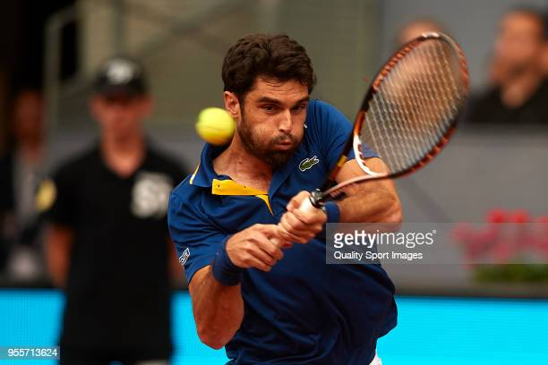 Pablo Andujar of Spain of Spain in action during his match against Fernando Verdasco of Spain of Spain during day three of the Mutua Madrid Open...