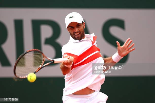 Pablo Andujar of Spain plays a forehand in his mens singles first round match against Matteo Berrettini of Italy during Day one of the 2019 French...