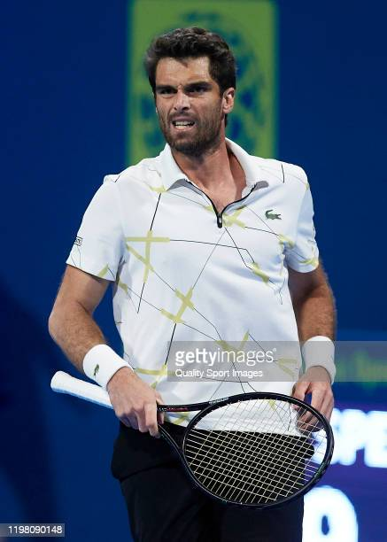 Pablo Andujar of Spain reacts in his mens singles first round match against Fernando Verdasco of Spain during day one of the ATP Qatar ExxonMobil...