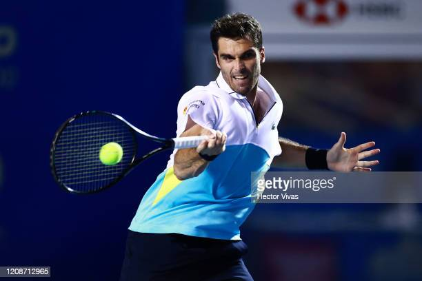 Pablo Andujar of Spain returns a ball during his singles match against Rafael Nadal of Spain as part of the ATP Mexican Open 2020 Day 2 at Princess...