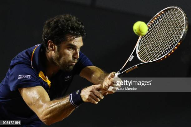 Pablo Andujar of Spain returns a shot to Dominic Thiem of Austria during the ATP Rio Open 2018 at Jockey Club Brasileiro on February 22 2018 in Rio...