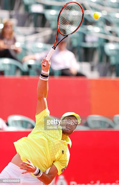 Pablo Andujar of Spain serves during a tennis match between Fabio Fognini and Pablo Andujar as part of ATP Buenos Aires Copa Claro on February 14...