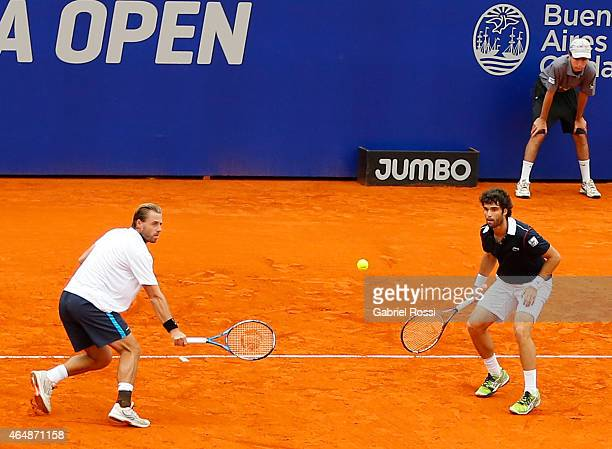 Pablo Andujar of Spain takes a shot during a doubles final match between Jarko Nieminen / Andre Sa vs Pablo Andujar / Oliver Marach as part of ATP...
