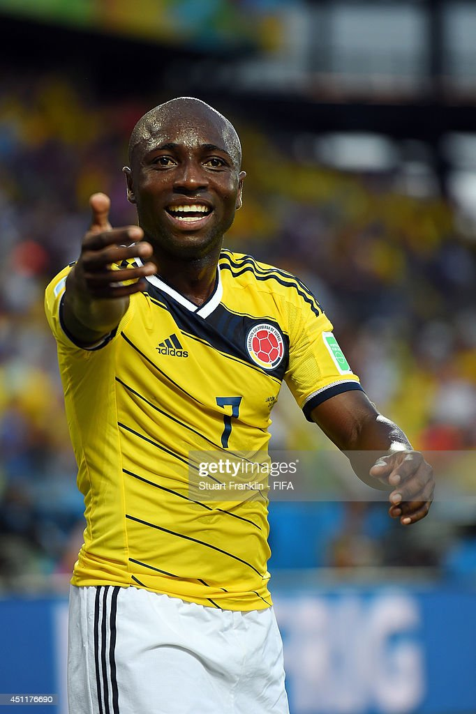 Pablo Armero of Colombia celebrates after the 2014 FIFA World Cup Brazil Group C match between Japan and Colombia at Arena Pantanal on June 24, 2014 in Cuiaba, Brazil.