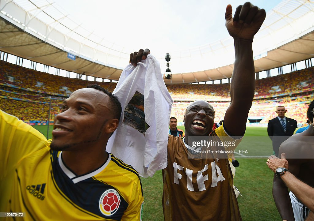 Pablo Armero of Colombia celebrates the 2-1 win after the 2014 FIFA World Cup Brazil Group C match between Colombia and Cote D'Ivoire at Estadio Nacional on June 19, 2014 in Brasilia, Brazil.