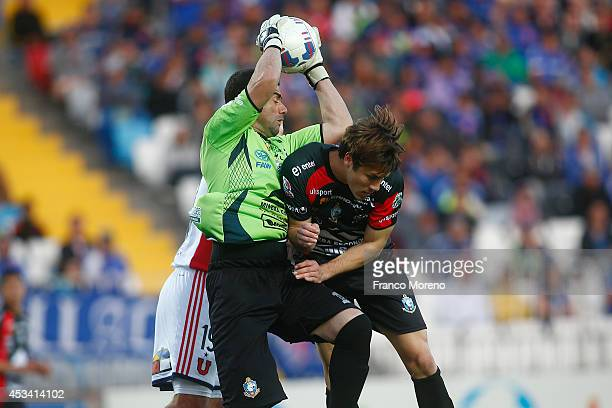 Pablo Aurrecochea, goalkeeper of Antofagasta in action during a match between Antofagasta and U de Chile as part of fourth round of Torneo Apertura...