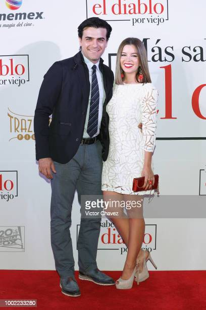 Pablo Azar and Ana Carolina Grajales attend 'Mas Sabe El Diablo Por Viejo' premiere at Cinemex Antara Polanco on July 19 2018 in Mexico City Mexico