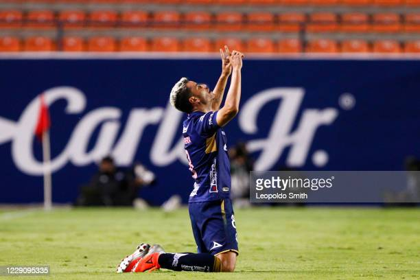 Pablo Barrera of Atletico San Luis celebrates after scoring the second goal during the 14th round match between Atletico San Luis and Queretaro as...