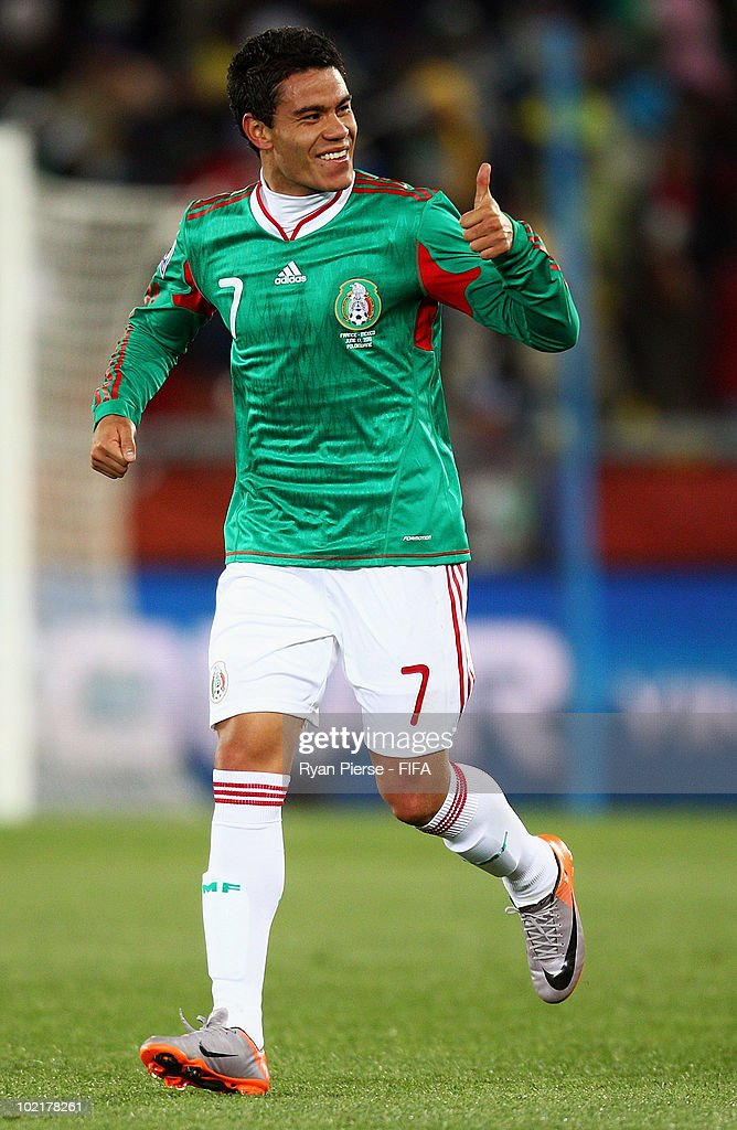 Pablo Barrera of Mexico thumbs up during the 2010 FIFA World Cup South Africa Group A match between France and Mexico at the Peter Mokaba Stadium on June 17, 2010 in Polokwane, South Africa.