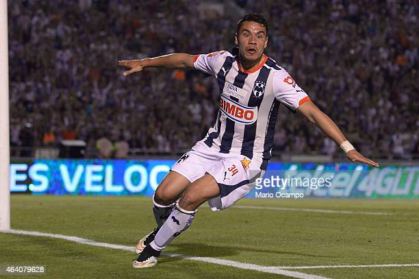 Pablo Barrera of Monterrey celebrates after scoring his team's first goal during a match between Monterrey and Queretaro as part of 7th round...