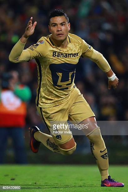 Pablo Barrera of Pumas celebrates after scoring the first goal of his team during the quarter finals first leg match between Pumas UNAM and Tigres...