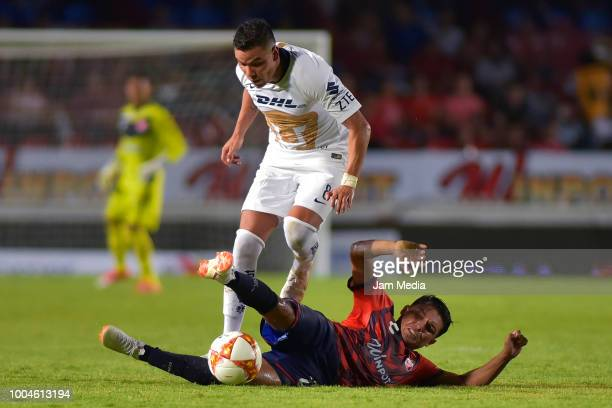 Pablo Barrera of Pumas fights for the ball with Jesus Paganoni of Veracruz during the 1st round match between Veracruz and Pumas UNAM as part of the...
