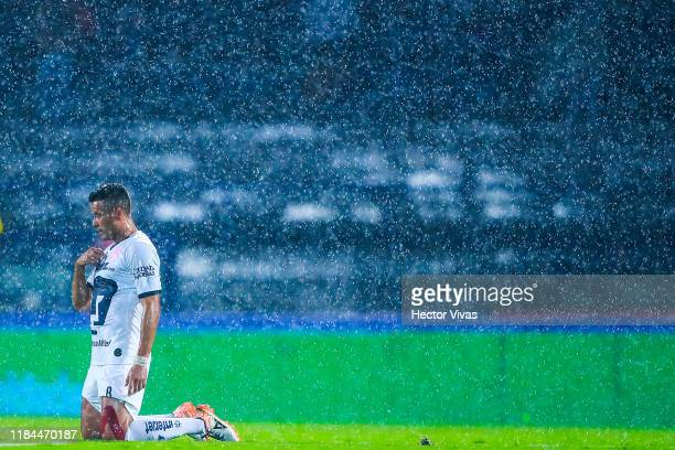 Pablo Barrera of Pumas gestures during the 16th round match between Pumas UNAM and Atlas as part of the Torneo Apertura 2019 Liga MX at Olimpico...