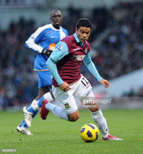 Pablo Barrera of West Ham United in action during the Barclays Premier League match between West Ham United and Wigan Athletic at Boleyn Ground in...