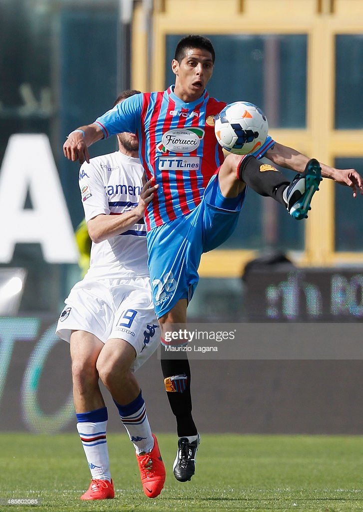 Pablo Barrientos of Catania during the Serie A match between Calcio Catania and UC Sampdoria at Stadio Angelo Massimino on April 19, 2014 in Catania, Italy.
