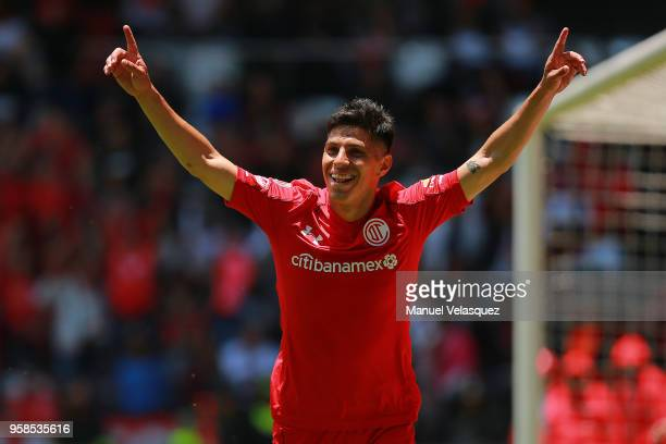 Pablo Barrientos of Toluca celebrates after scoring the fourth goal of his team during the semifinals second leg match between Toluca and Tijuana as...
