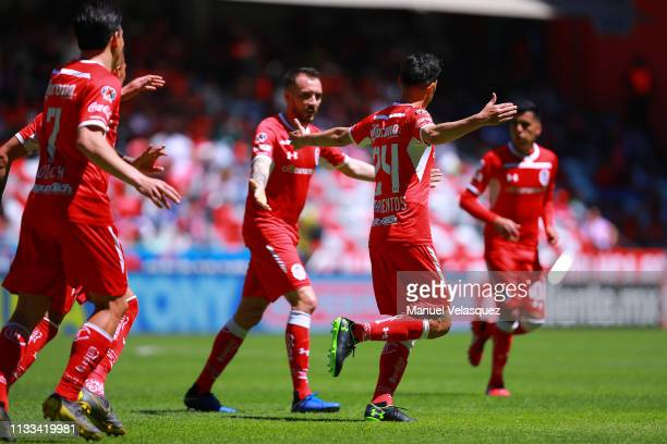 Pablo Barrientos of Toluca celebrates the first scored goal during the 9th round match between Toluca and Veracruz as part of the Torneo Clausura...