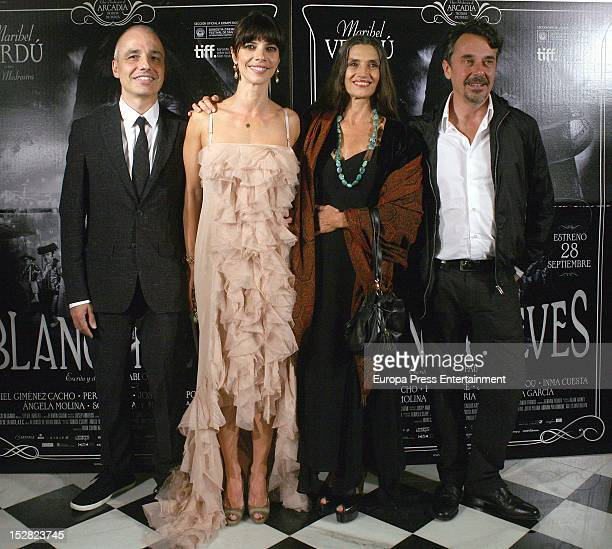 Pablo Berger Maribel Verdu Angela Molina and Pere Ponce attend 'Blancanieves' premiere on September 26 2012 in Barcelona Spain