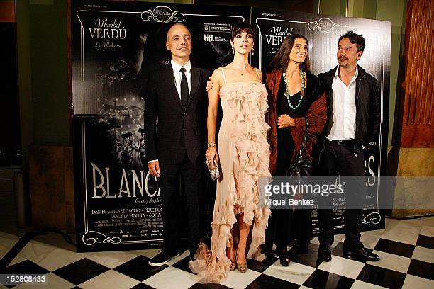 Pablo Berger Maribel Verdu Angela Molina and Pere Ponce attend the 'Blancanieves' Premiere at the Grand Teatre del Liceu on September 26 2012 in...