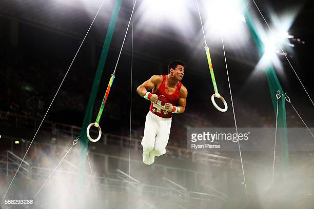 Pablo Braegger of Switzerland competes on the rings during the Men's Individual AllAround final on Day 5 of the Rio 2016 Olympic Games at the Rio...
