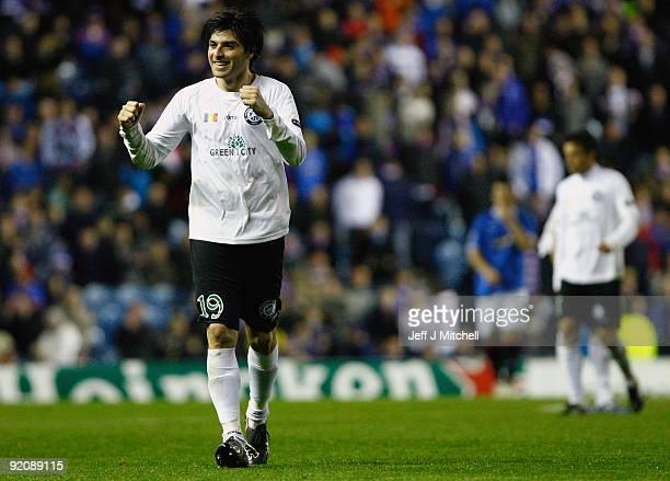 Pablo Brandan of Unirea Urziceni celebrates after scoring during the UEFA Champions League Group G match between Rangers and Unirea Urziceni at Ibrox...