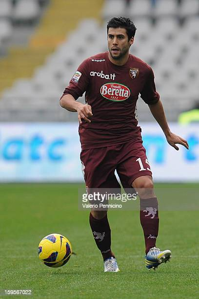 Pablo Caceres of Torino FC in action during the Serie A match between Torino FC and AC Siena at Stadio Olimpico di Torino on January 13 2013 in Turin...