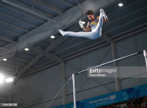 Pablo Calvache of Ecuador competes in Men's Horizontal Bar Qualification during Day 4 of Buenos Aires 2018 Youth Olympic Games at America Pavilion of...