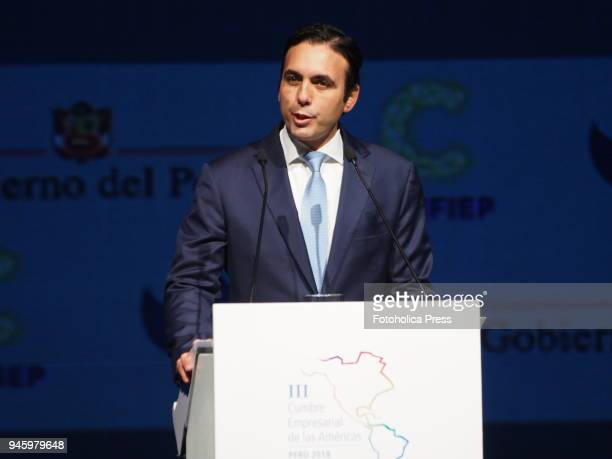 Pablo Campana Ecuatorian Minister of Foreign Trade gives a lecture in the framework of the VIII Summit of the Americas The event takes place on April...
