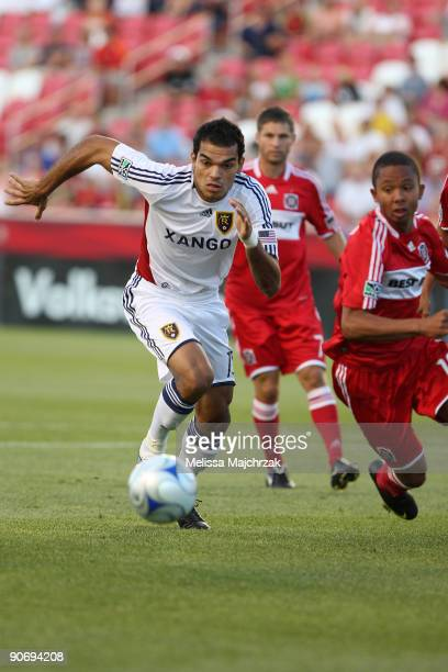 Pablo Campos of Real Salt Lake goes after the ball against the Chicago FIre at Rio Tinto Stadium on September 12 2009 in Sandy Utah