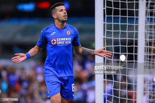 Pablo Cappelini of Cruz Azul celebrates the third scored goal of Cruz Azul during the round of 16 match between Cruz Azul and Portmore as part of the...