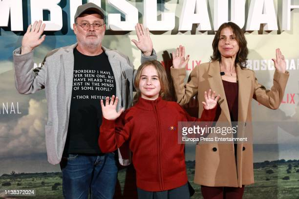 Pablo Carbonell Maria Arellano and Mafalda Carbonell attend the 'Highwaymen' premiere at the Cine Capitol on March 25 2019 in Madrid Spain
