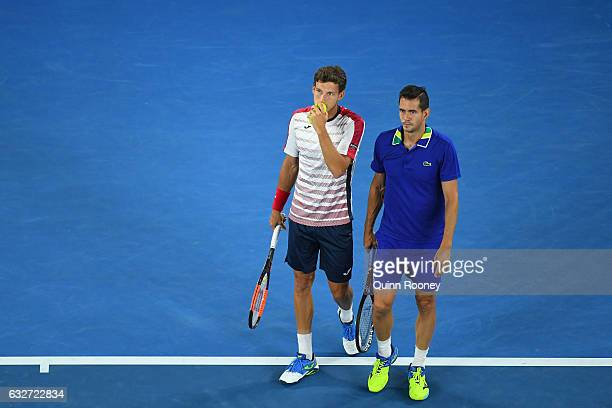 Pablo Carreno Busta and Guillermo GarciaLopez of Spain compete against Bob Bryan and Mike Bryan of the United States in their doubles semifinal match...