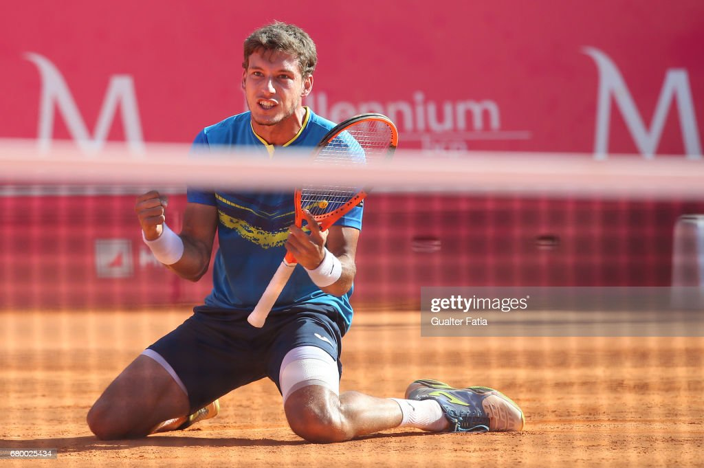Pablo Carreno Busta celebrates after winning the match point during the Final match between Pablo Carreno Busta from Spain and Gilles Muller from Luxembourg for the Millennium Estoril Open at Clube de Tenis do Estoril on May 7, 2017 in Estoril, Portugal.