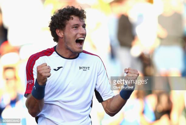 Pablo Carreno Busta of Spain celebrate to the crowd after his three set victory against Kevin Anderson of South Africa in their quarterfinal match...