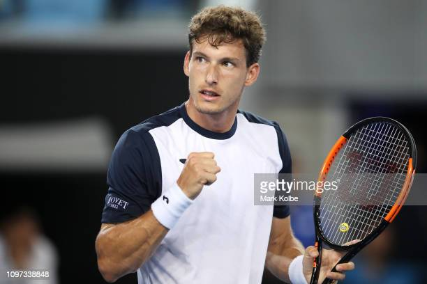 Pablo Carreno Busta of Spain celebrates a point in his fourth round match against Kei Nishikori of Japan during day eight of the 2019 Australian Open...