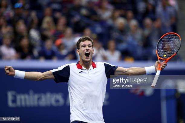 Pablo Carreno Busta of Spain celebrates after winning his fourth round match against Denis Shapovalov of Canada on Day Seven of the 2017 US Open at...