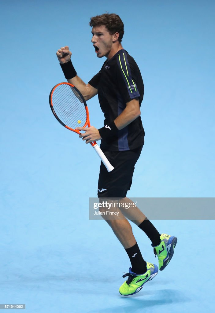 Pablo Carreno Busta of Spain celebrates during the singles match against Dominic Thiem of Austria on day four of the 2017 Nitto ATP World Tour Finals at O2 Arena on November 15, 2017 in London, England.