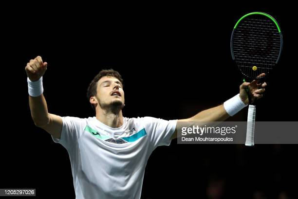 Pablo Carreno Busta of Spain celebrates victory against Adrian Mannarino of France during Day 3 of the ABN AMRO World Tennis Tournament at Rotterdam...