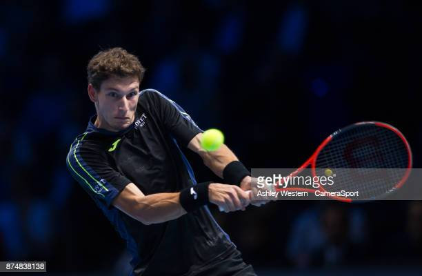 Pablo Carreno Busta of Spain in action during his defeat to Dominic Thiem of Austria in their Group Pete Sampras match today Thiem def Busta 63 36 64...