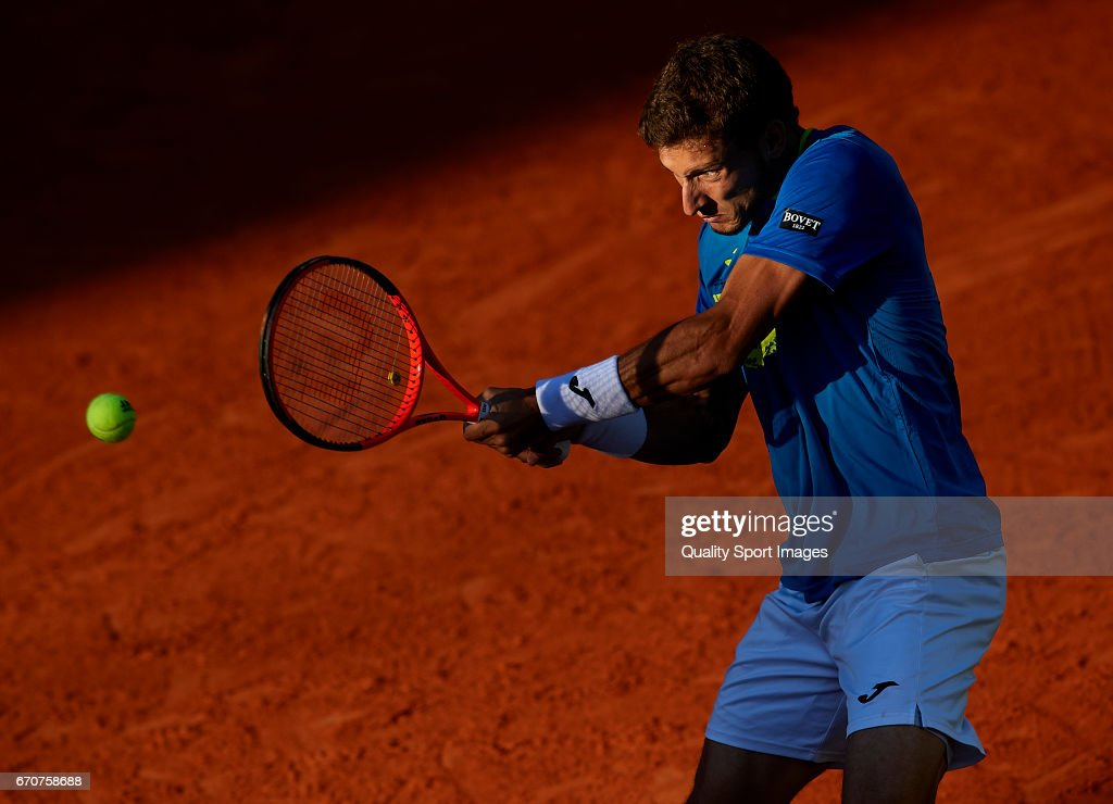 Pablo Carreno Busta of Spain in action during his match against Novak Djokovic of Serbia during day five of the ATP Monte Carlo Rolex Masters Tennis at Monte-Carlo Sporting Club on April 20, 2017 in Monte-Carlo, Monaco.