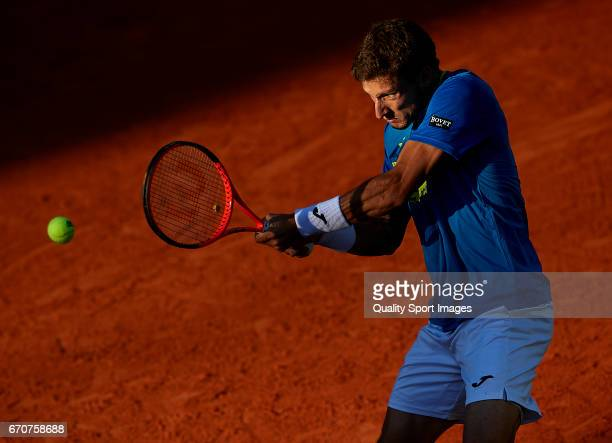 Pablo Carreno Busta of Spain in action during his match against Novak Djokovic of Serbia during day five of the ATP Monte Carlo Rolex Masters Tennis...