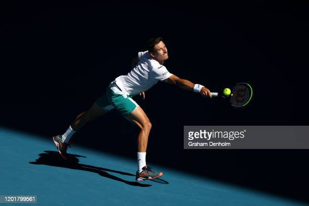 Pablo Carreno Busta of Spain plays a backhand during his Men's Singles third round match against Rafael Nadal of Spain on day six of the 2020...