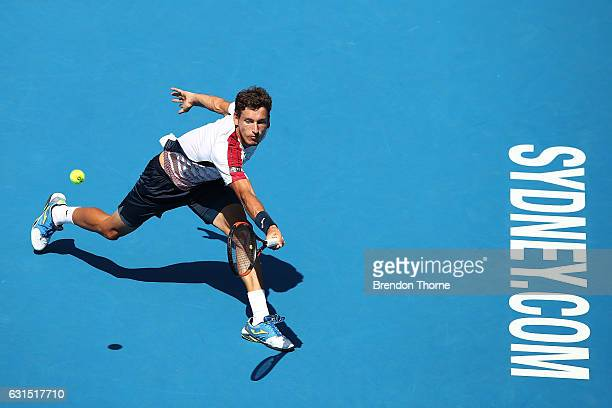 Pablo Carreno Busta of Spain plays a backhand in his quarter final match against Andrey Kuznetsov of Russia during day five of the 2017 Sydney...