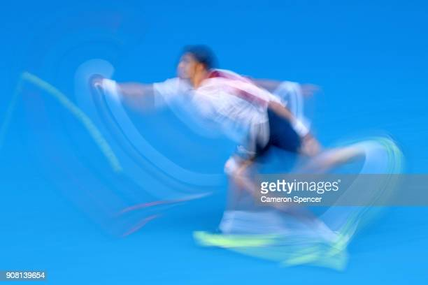 Pablo Carreno Busta of Spain plays a forehand in his fourth round match against Marin Cilic of Croatia on day seven of the 2018 Australian Open at...