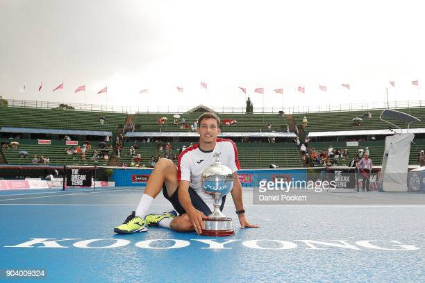 Pablo Carreno Busta of Spain poses for a photo after winning the Men's Singles Final against Matt Ebden of Australia during day four of the 2018...
