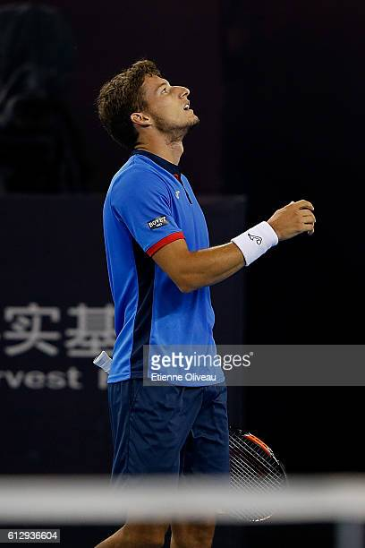 Pablo Carreno Busta of Spain reacts against Richard Gasquet of France during the Men's singles second round match on day six of the 2016 China Open...