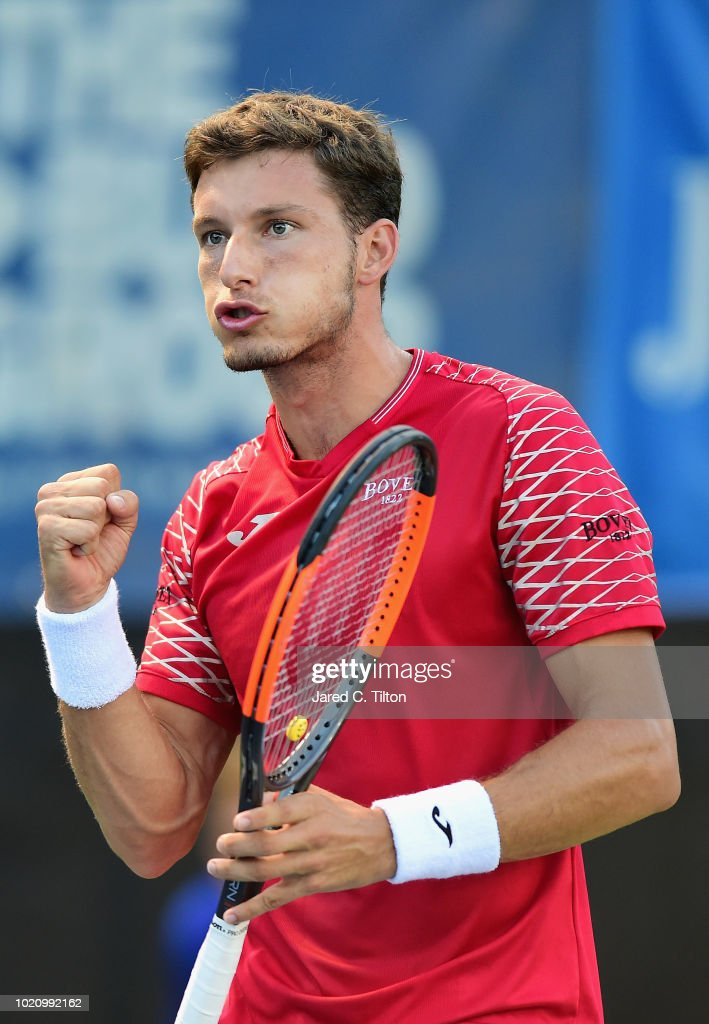 Pablo Carreno Busta of Spain reacts following a point against Franko Skugor of Croatia during their match on day two of the Winston-Salem Open at Wake Forest University on August 21, 2018 in Winston-Salem, North Carolina.